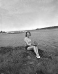 Rockland Seafood Festival, 1958 - Woman with Lobster by Maine Department of Sea and Shore Fisheries