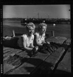 Rockland Seafood Festival, 1958 - Twins with Lobsters by Maine Department of Sea and Shore Fisheries