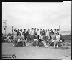 Rockland Seafood Festival, 1958 - Sea Queen Contestants on Lobster Traps by Maine Department of Sea and Shore Fisheries