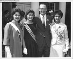 Maine Dairy Princess, Maine Sea Goddess, and Representative from Festival of College Queens at a Festival by Maine Department of Sea and Shore Fisheries