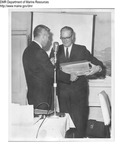 Sea Chest Presentatoin at Expo 67 to PR man Ron Gadsby by Maine Department of Sea and Shore Fisheries
