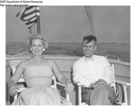 Maine Marine Patrol Colonel Ronald N Green and Unidentified Woman on Vessel by Maine Department of Sea and Shore Fisheries