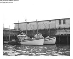 "Dragger ""Rose M"" and Unknown Vessel Tied Up at a Maine Wharf by Department of Marine Resources"