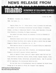 Press Release by Maine Department of Sea and Shore Fisheries