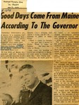 Good Days Come From Maine According To The Governor by Montreal Gazette