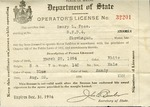 Henry L. Foss's Operator's License, August 22, 1916 by State of Maine