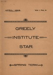 Greely Institute Star April 1896 Vol. 1 No. 4
