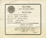 William T. Hawkens' Birth Record, Certified December 3, 1934 by City of Hallowell