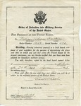 William T. Hawkens' Order of Induction into Military Service, June 28, 1918 by United States Army, Frank W. Butler, and Local Board Franklin County