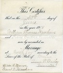 William T. Hawkens' Marriage certificate, June 30, 1918 by State of Maine