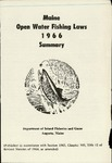 Maine Open Water Fishing Laws 1966 Summary by Maine Department of Inland Fisheries and Game
