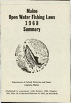 Maine Open Water Fishing Laws 1968 Summary by Maine Department of Inland Fisheries and Game