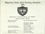 Maine Migratory Game Bird Hunting Schedule 1976