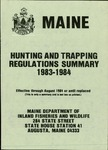 Maine Hunting and Trapping Regulations Summary, 1983-1984