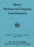 Maine Hunting and Trapping Laws Summary, 1971-1972