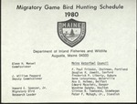 Migratory Game Bird Hunting Schedule, 1980