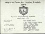 Migratory Game Bird Hunting Schedule, 1980