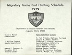 Migratory Game Bird Hunting Schedule, 1979