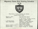 Migratory Game Bird Hunting Schedule, 1978