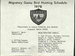 Migratory Game Bird Hunting Schedule, 1978