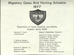 Migratory Game Bird Hunting Schedule, 1977