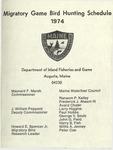 Migratory Game Bird Hunting Schedule, 1974