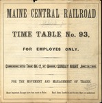 Maine Central 1885 Employees Time Table