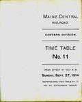 Maine Central Eastern Division 1914 Employees Fall Time Table