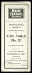 Maine Central Portland Division Time Table No51 Supp1 by Maine Central Railroad