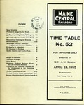 Maine Central Employee Time Table No52 by Maine Central Railroad