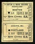 MEC Railroad Ticket Auburn To Boston c1900
