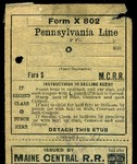 MEC Issued Railroad Ticket - New York to Pittsburg by Maine Central Railroad