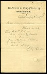 Bangor & Piscataquis RR order to N. H. Bragg & Sons 1880