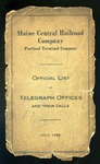 Maine Central List of Telegraph Offices - 1925