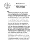 Legislative History:  Joint Resolution in Honor of Adjutant General John W. Libby on His Retirement (HP1366)