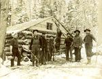 Hunters with deer, Perham, Maine, late 1800s