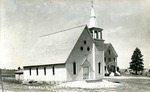 Postcard of First Catholic Church, Limestone, Maine by Frost Memorial Library, Limestone, Maine