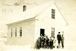 Students in Front of Limestone School, ca. 1909 by Frost Memorial Library, Limestone, Maine