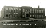 Postcard of New High School Building, Limestone, Maine by Frost Memorial Library, Limestone, Maine