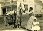 Widow, Three Children, and a Horse and Carriage, Limestone, Maine, ca. Early 1900s