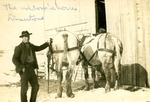 Man Standing by Two Horses in Limestone, Maine, ca. 1909