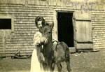 Lizzie Jones with Horse, Limestone, Maine, ca. Early 1900s by Frost Memorial Library, Limestone, Maine