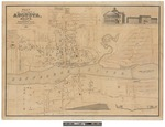 Plan of Village of Augusta, Maine Showing the Kennebeck Dam 1838 by B. F. Perham