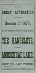 The Great Attraction for the Season of 1875, to the Tourist or Invalid Seeking Health; the Rangeleys, and Moosehead Lake; How to Get There by National Railway Publication Company and Eastern and Maine Central Railroad