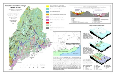 Geologic Map Of Maine.Simplified Surficial Geologic Map Of Maine By Marc Loiselle