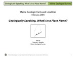 Geologically Speaking, What's in a Place Name?