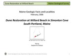 Dune Restoration at Willard Beach in Simonton Cove, South Portland, Maine
