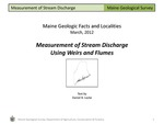 Measurement of Stream Discharge Using Weirs and Flumes by Daniel B. Locke