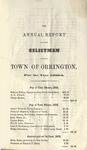 Annual Report of the Selectmen of the Town of Orrington For the Year 1853-1854