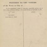 Suffrage Petition Burlington Maine, 1917
